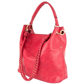 Borsa rossa a spalla hobo bag con catena vista laterale