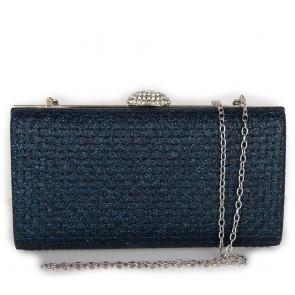 Pochette blu elegante da cerimonia glitter con tracolla in catena