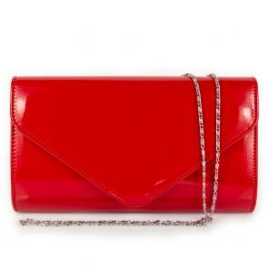 Pochette rossa vernice elegante da cerimonia con tracolla