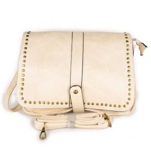 Borsa donna beige tracolla con borchie