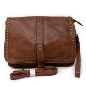Borsa marrone tracolla da donna con borchie