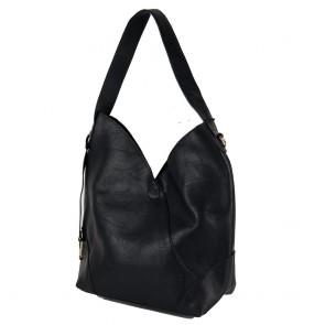 Borsa a spalla nera grande con tracolla e borsello