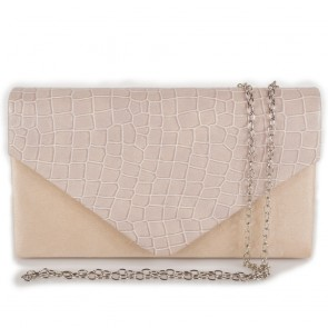 Pochette busta beige elegante stampa cocco da donna
