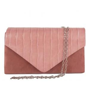 Pochette rosa antico elegante stampa cocco da donna