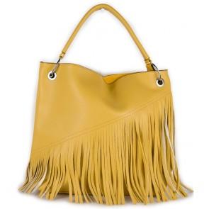 Borsa con frange gialla da donna