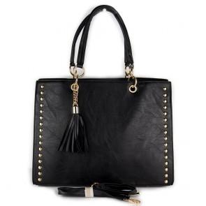 Borsa nera donna da lavoro con borchie e tracolla