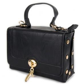 Borsa bauletto nera piccola con borchiette e tracolla
