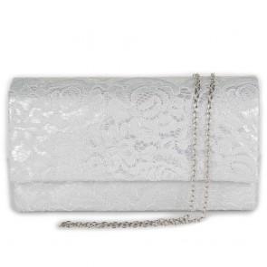 Pochette argento in pizzo elegante donna