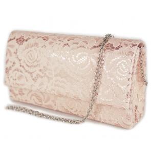 Pochette oro rosa in pizzo elegante donna
