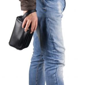 Pochette maschile da polso in ecopelle