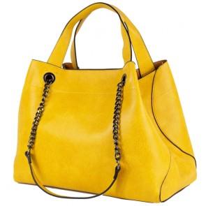 Borsa donna gialla con manici in catena