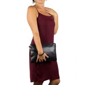 Pochette donna nera in ecopelle a mano e da polso