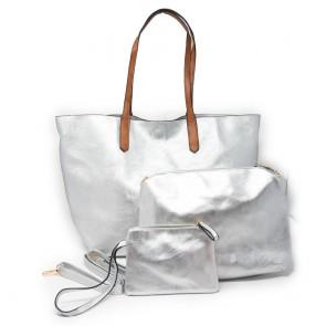 Shopping bag argento grande e capiente