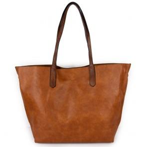 Borsa a spalla color cuoio grande shopping bag con tre accessori