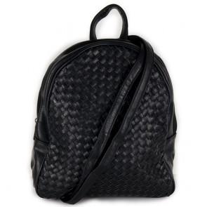 Zaino borsa nero donna di ecopelle intrecciata