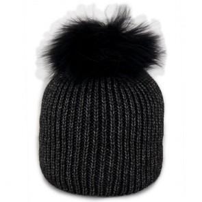 Cappello nero con pon pon di pelliccia donna