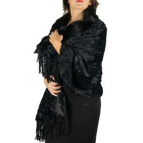 Stola pelliccia ecologica elegante con frange