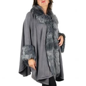 Mantella grigia con collo di pelliccia ecologica