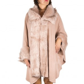Mantella rosa con collo di pelliccia ecologica