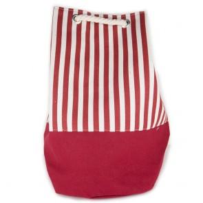 Sacco rosso a strisce con bretelle in corda