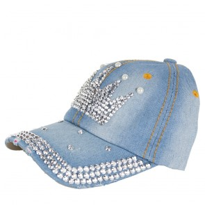 Berretto donna in jeans con visiera-Corona Strass degree