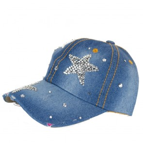 Berretto donna in jeans con visiera-Stelle Strass degree