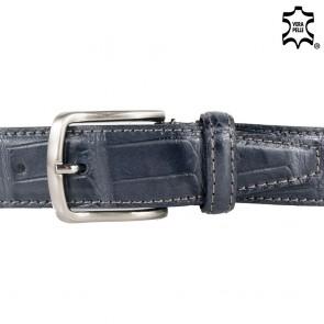 Cintura grigia uomo pelle stampa coccodrillo elegante