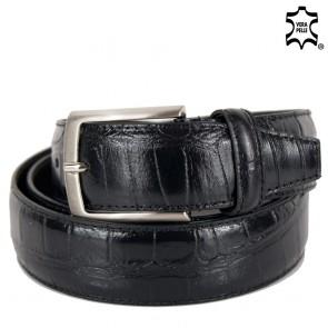 Cintura uomo pelle nera stampa coccodrillo elegante