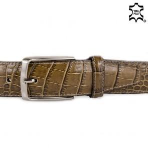 Cintura uomo tortora stampa coccodrillo in vera pelle