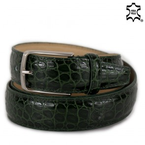 Cintura uomo verde in pelle stampa coccodrillo