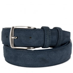 Cintura uomo scamosciata blu di vera pelle