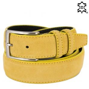 Cintura gialla uomo di pelle scamosciata