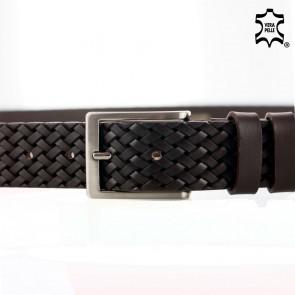 Cintura marrone intrecciata stampata in pelle