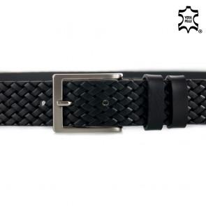 Cintura pelle nera stampa intreccio