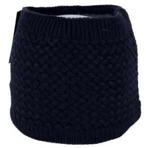 Cappello scaldacollo blu invernale punto a maglia rombo