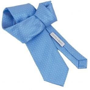 Cravatta azzurra fantasia micro quadri da uomo annodata