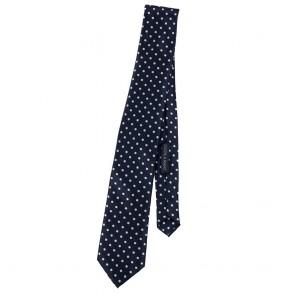 Cravatta blu a pois bianchi