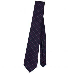Cravatta blu a pois rossi