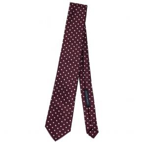 Cravatta bordeaux a pois bianchi