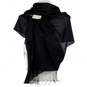 Foulard GATTINONI elegante con frange tinta unita nero