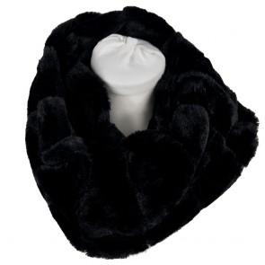 Scaldacollo pelliccia ecologica donna ad anelllo nero