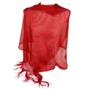 Stola cerimonia rossa elegante a rete con frange ai bordi