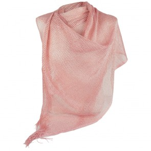 Stola rosa a rete cerimonia elegante con frange