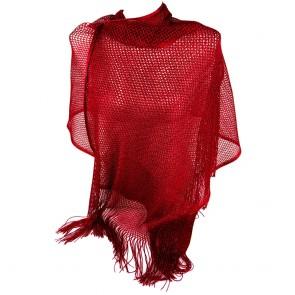 Stola rossa cerimonia elegante a rete con frange ai bordi