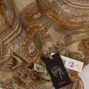 Foulard beige fantasia di piume