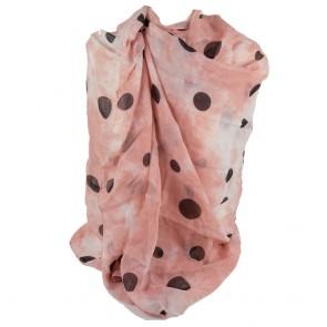 Foulard fantasia pois neri su sfondo rosa