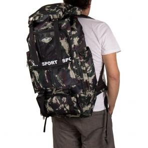 Zaino escursionismo grande con tasche e zip mimetico outfit