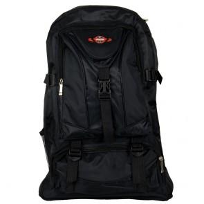 Zaino escursionismo grande nero con tasche e zip