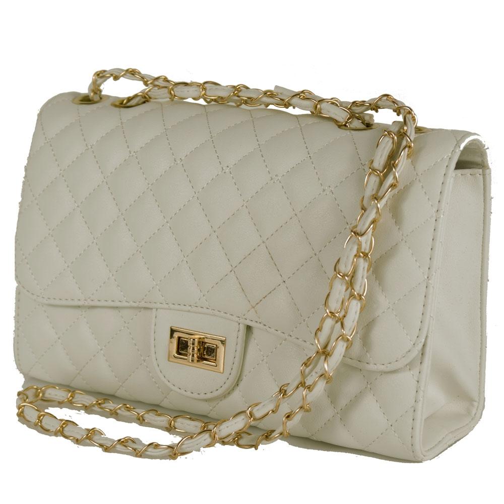 Dettagli su Borsa trapuntata panna con tracolla catena borsetta ragazza da donna elegante