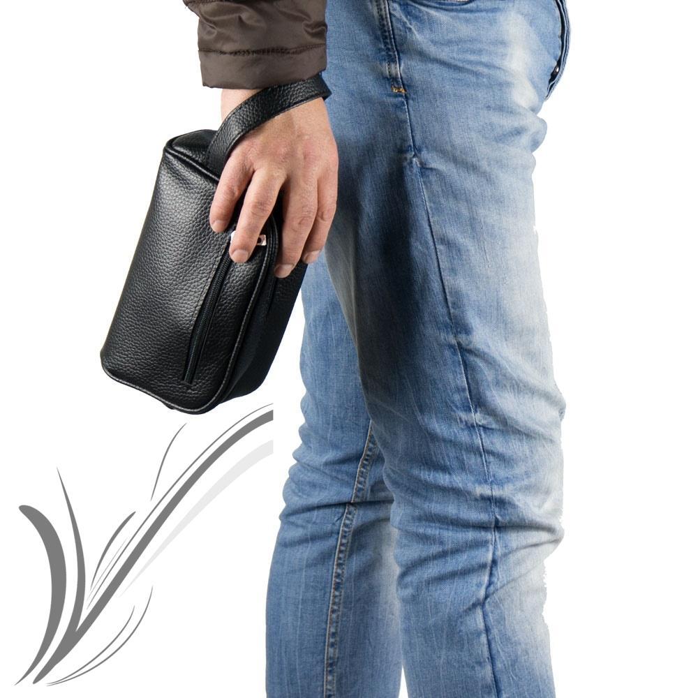 l'atteggiamento migliore 936e9 475df Dettagli su Pochette uomo da polso Borsetta nera borsello a mano borsa  piccola casual moda
